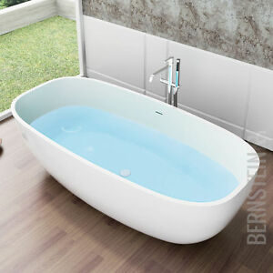 Freistehende Badewanne aus Mineralguss OCEAN STONE weiß 180 x 87 ... | {Freistehende badewanne mineralguss 93}