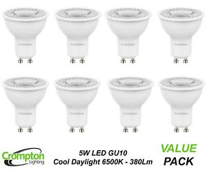 Crompton-5W-LED-GU10-Globes-Bulbs-Lamps-Cool-Daylight-6500K-380-Lumens-240V