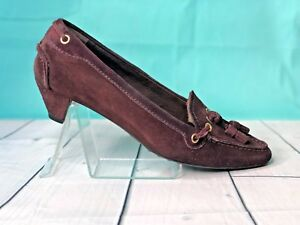 The-Original-Car-Shoe-Brown-Suede-Bow-Accent-Almond-Toe-Heeled-loafers-sz-7