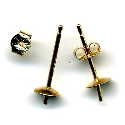 9ct YELLOW GOLD EARRING EAR STUDS 4mm CUP PEG /& POST JEWELLERY MAKING