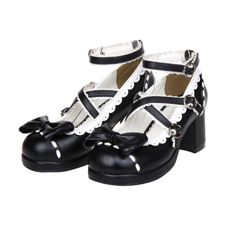 Schwarz Gothic Goth Lolita Barock Damen Schuhe Schuhes Cosplay Kostüme pumps maid