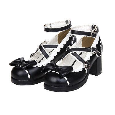 Schwarz Gothic Goth Lolita Barock Damen Schuhe Shoes Cosplay Kostüme pumps maid