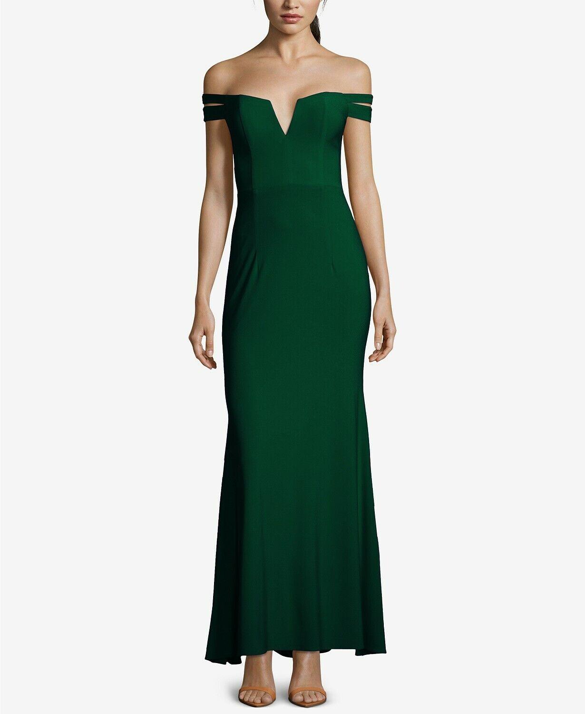 NEW  XSCAPE damen Grün OFF-THE-SHOULDER SILHOUETTE GOWN DRESS Größe 4