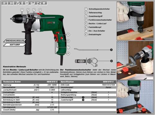 DWT Schlagbohrmaschine Bohrmaschine mit Drehzahlregler 810 W  SBM-810 C