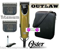 Oster A5 Outlaw Pro Grooming Super Clipper Set&2 Elite Titanium 10 Blade