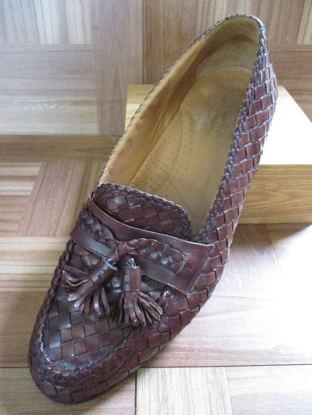 classico senza tempo Church's Chuchs 6944 Prima Classe Marrone woven woven woven leather tassel loafers 9.5M  fantastica qualità
