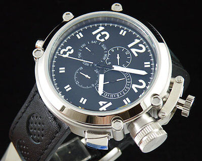 50mm Parnis Big Face black dial automatic leather strap men's solid watch PN246