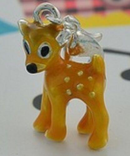 Encantador pequeño Bambi Ciervo clip en encanto para Pulseras 3D-Placa de Plata-Nuevo