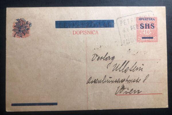 1919 Petrovima Croatie-yougoslavie Papeterie Carte Postale Couverture à Vienne Autriche Effet éVident