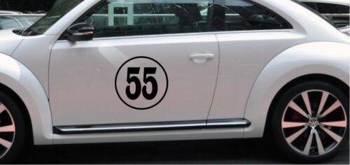 "12/"" Circle Rally side car Door  Number JDM Mini VW Racing Sticker Vinyl Decal"