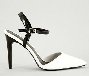 NEW LOOK SIZE 3 6 8 BLACK WHITE PATENT
