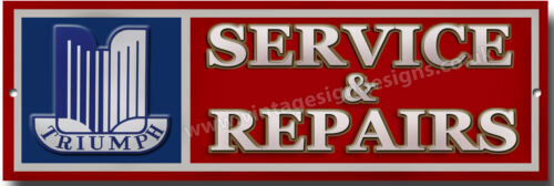 TRIUMPH SERVICE /& REPAIRS METAL SIGN.CLASSIC BRITISH TRIUMPH SPORTS CARS.