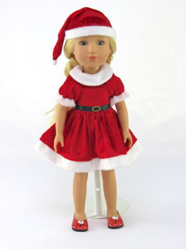"""Santa Dress And Hat Christmas Fits 14.5/"""" Wellie Wisher American Girl Clothes"""