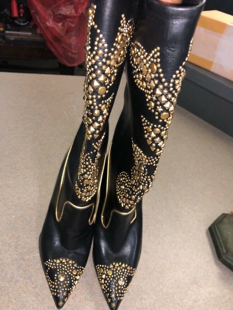 Versace women Black Leather gold gold gold Embellished Boot Size 35 77f931