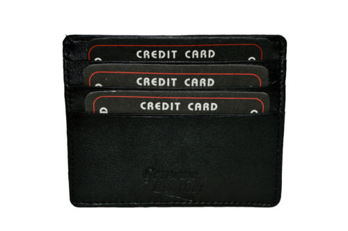 Genuine Leather Slim One  Flap card  Money Holder Black NEW