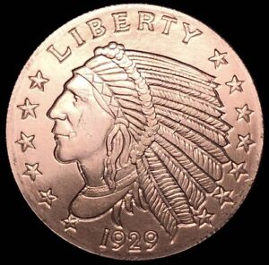 1929 Incuse Indian 0.999 Fine 1//4 Oz Copper Bullion Round Coin US Quarter Eagle