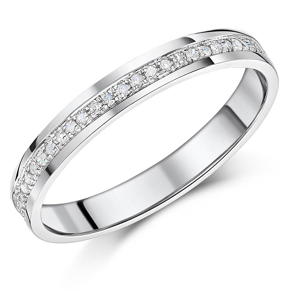 9Ct gold whiteo Media Eternidad Anillo con Diamante Forma ' Corte ' 0,15ct