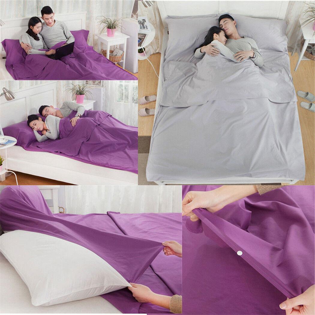 Travel Rectangle Envelope Cotton Double Sleeping Bag Liner Inner Camping Sheet D