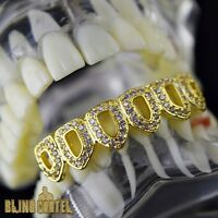 Grillz Cz 14k Gold Plated Bottom Teeth Six 6 Open Face Iced-out Hip Hop Grills