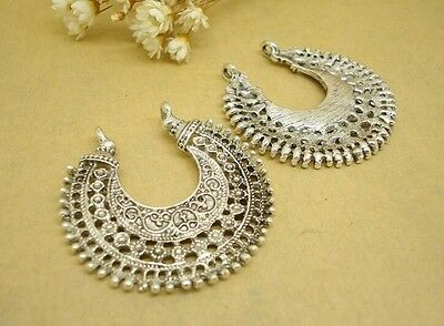 5pcs Tibetan silver color crafted floral  charms for earring design  h2409