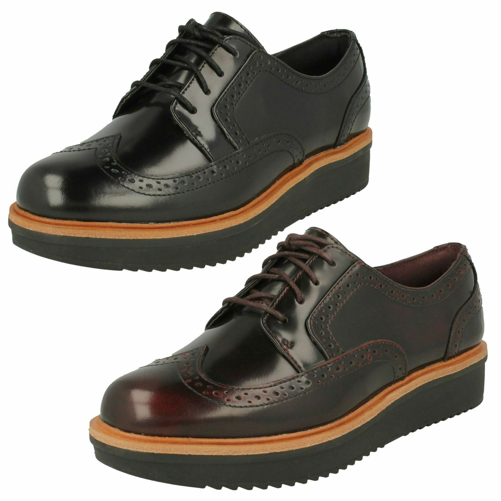 Ladies Clarks Casual Lace-Up Brogue Style shoes Teadale Maira