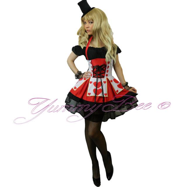 Queen of Hearts Fancy Dress Costume Alice in Wonderland Ladies Plus Size 6-22