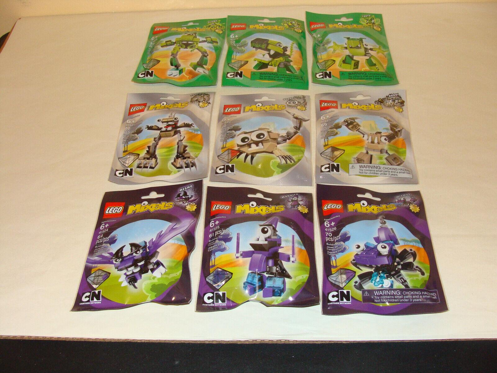 Lego Mixels Series 3 complete Glomp Glurt SCORPI  HOOGI Mesmo Wizwuz Retraité Neuf  bon prix