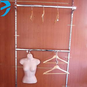 Garment Rail Twin Slot Upright Clothes Rail Display HANGING BAR walk