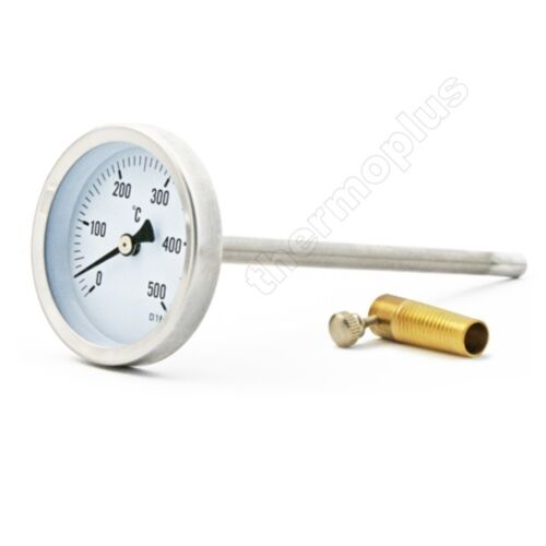 Metall Thermometer Heizung Rohr 0-120℃ Grad Bimetall Zeiger Ofen Brenner 63mm