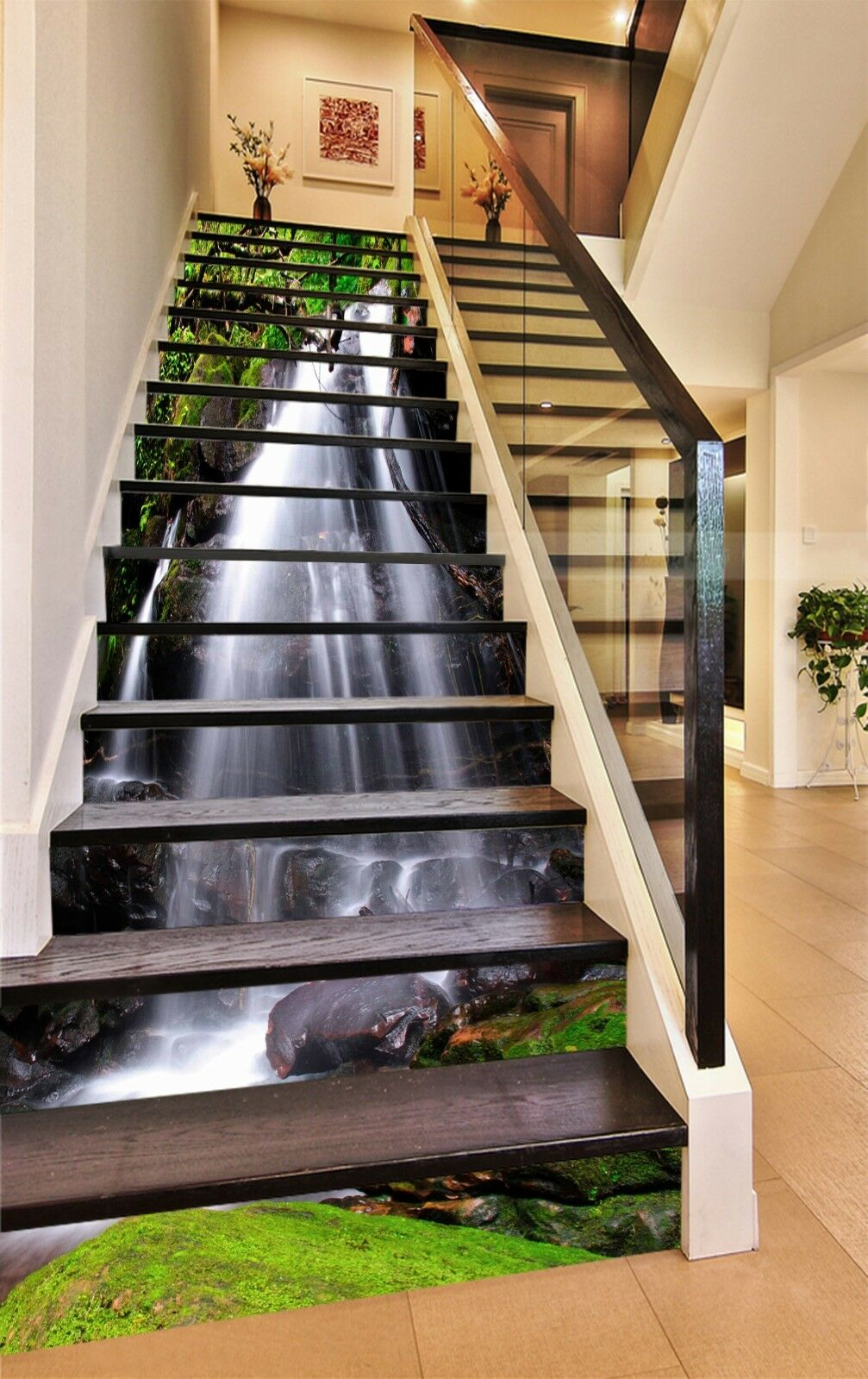 3D Leaf waterfall 7 Stair Risers Decoration Photo Mural Vinyl Decal Wallpaper UK