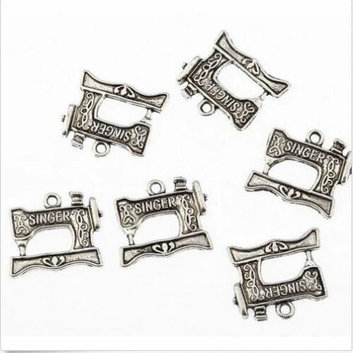 Free Ship 40Pcs Bronze Silver Plated Sewing Machine Charms Pendant 18x20mm