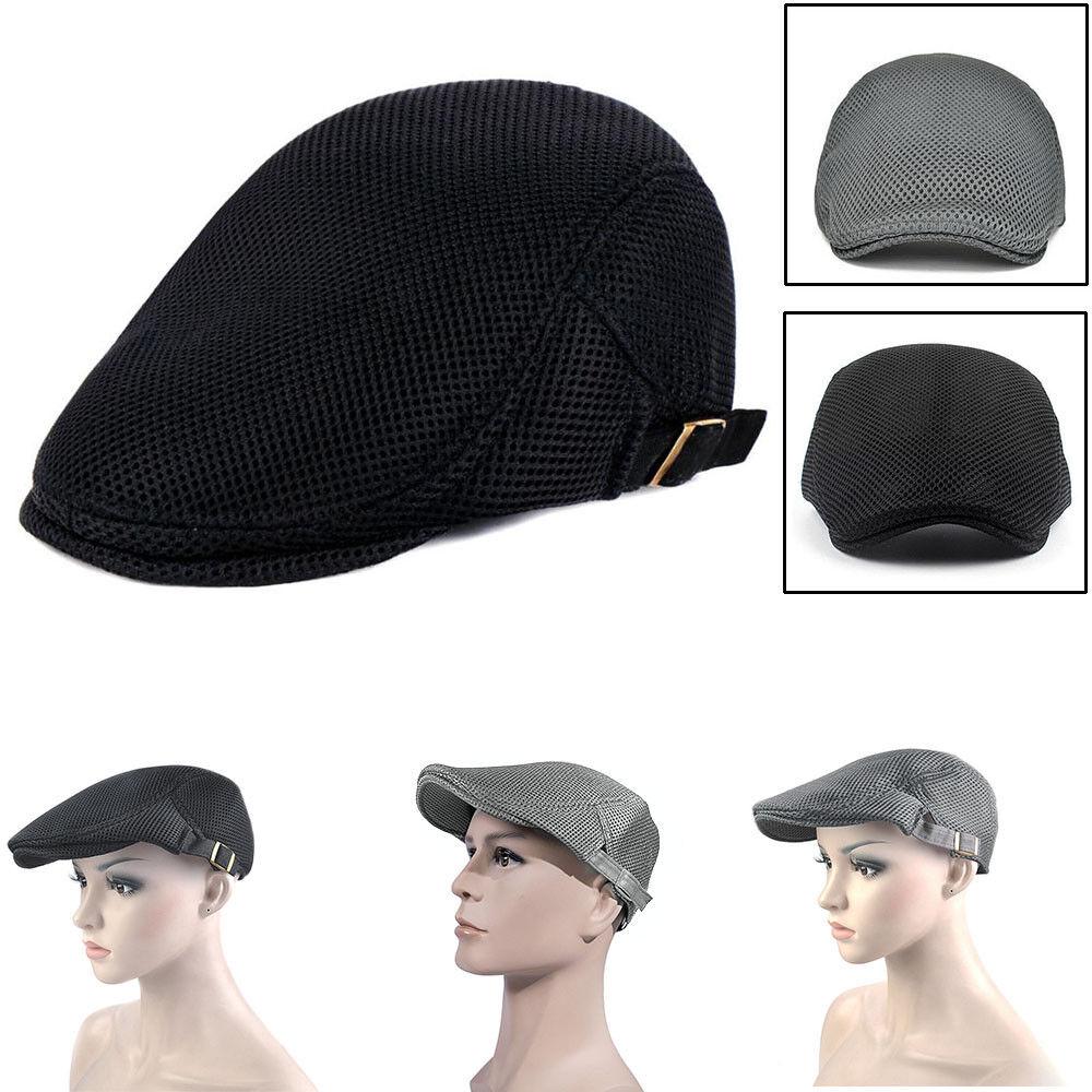 Boy's Mesh Breathable Beret Summer Cap Adjustable Gatsby Newsboy Cabbie Beret Breathable Flat Hat 9c9b50