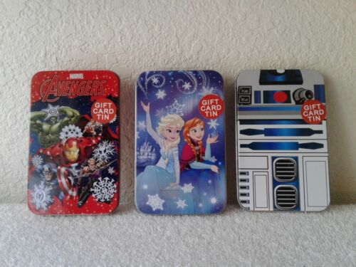 Containers 3 Gift Card Tin Boxes-Avengers-Disney Frozen-Tote Tin Carry-All