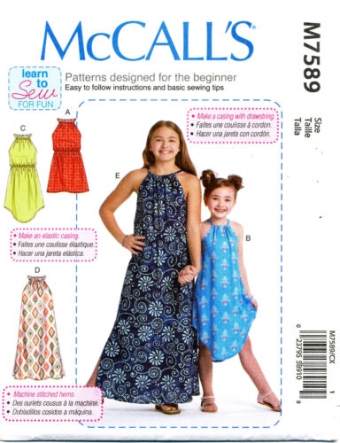 MCCALL/'S SEWING PATTERN 7589 GIRLS 3-6 EASY LOOSE-FITTING PULLOVER DRESSES MAXI