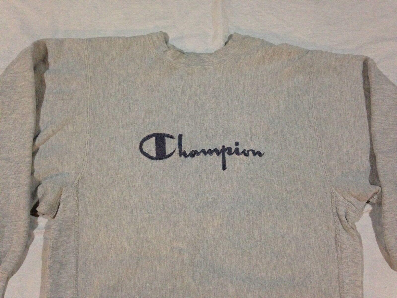 VTG 90'S CHAMPION SWEATER REVERSE WEAVE SCRIPT SWEATER CHAMPION grau LARGE d6e140
