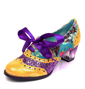 05e347db783 Details about Poetic Licence NEW Corporate Beauty yellow purple floral  heeled brogue shoes 3-9