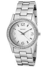 New DKNY Silver Aluminum Band Crystals Women Dress Watch 33mm NY8307 $135
