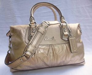 Image Is Loading Nwt Coach Ashley Perforated Metallic Gold Leather Satchel