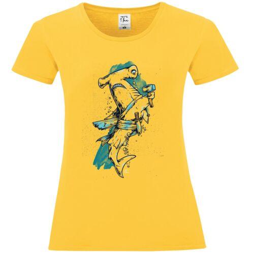 1Tee Bottines Femme Hammerhead Shark Holding Marteau T-Shirt