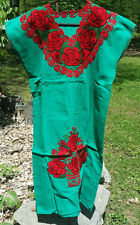 Maya Mexican Dress Embroidered Flowers Chiapas Puebla Teal Green Large #RG