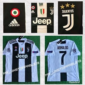 34049ec9b4a Image is loading ADIDAS-Juventus-Cristiano-Ronaldo -Champions-League-Patches-HOME-