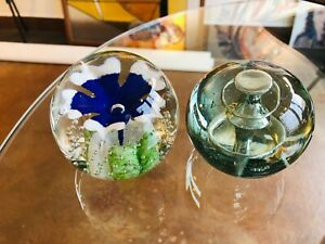 South-Jersey-Art-Glass-SJAF-PAPERWEIGHT-Flower-Controlled-Bubble-amp-Spiral-Clear