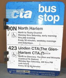 Details about Vtg 2 Sided CTA Bus Stop 90N North Harlem/423 Chicago  Aluminum Sign 24 x 18 S596