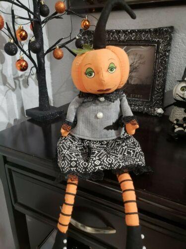 Halloween Primitive Vintage Style Pumpkin Head Doll Bat Shelf Sitter Decor