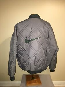 0ebaa2c01c87 VTG NIKE Green And Gray REVERSIBLE BIG SWOOSH COAT PUFFER QUILTED ...