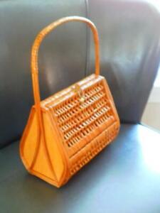 Vintage WOVEN BASKET BAG PURSE Made in SPAIN Wooden Wicker Rattan SWEET