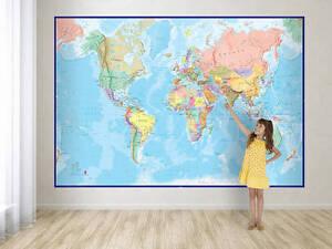 Giant World Map Mural Blue Ocean EBay - Buy giant world map