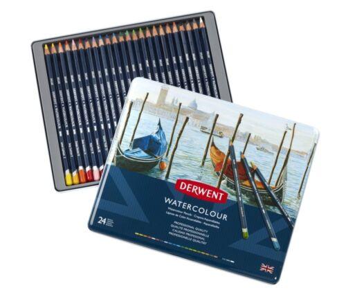 Derwent professionnel Crayons Aquarelle 24 Tin Set de soluble dans l/'eau couleurs
