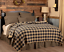 BLACK-CHECK-QUILTED-coverlet-choose-size-amp-accessories-Primitive-VHC-Brands thumbnail 3