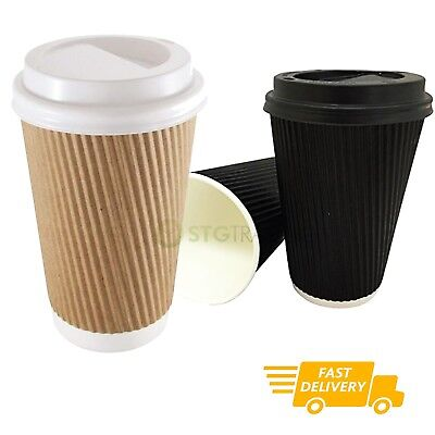 Disposable Coffee Cups Insulated Ripple Paper Cardboard Brown Black 3ply Hot Tea | eBay